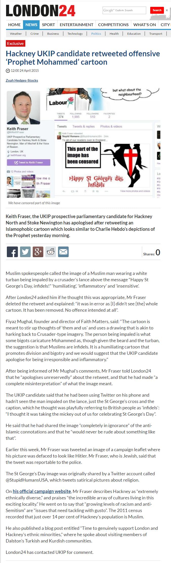 Hackney UKIP candidate retweeted offensive 'Prophet Mohammed' cartoon 2