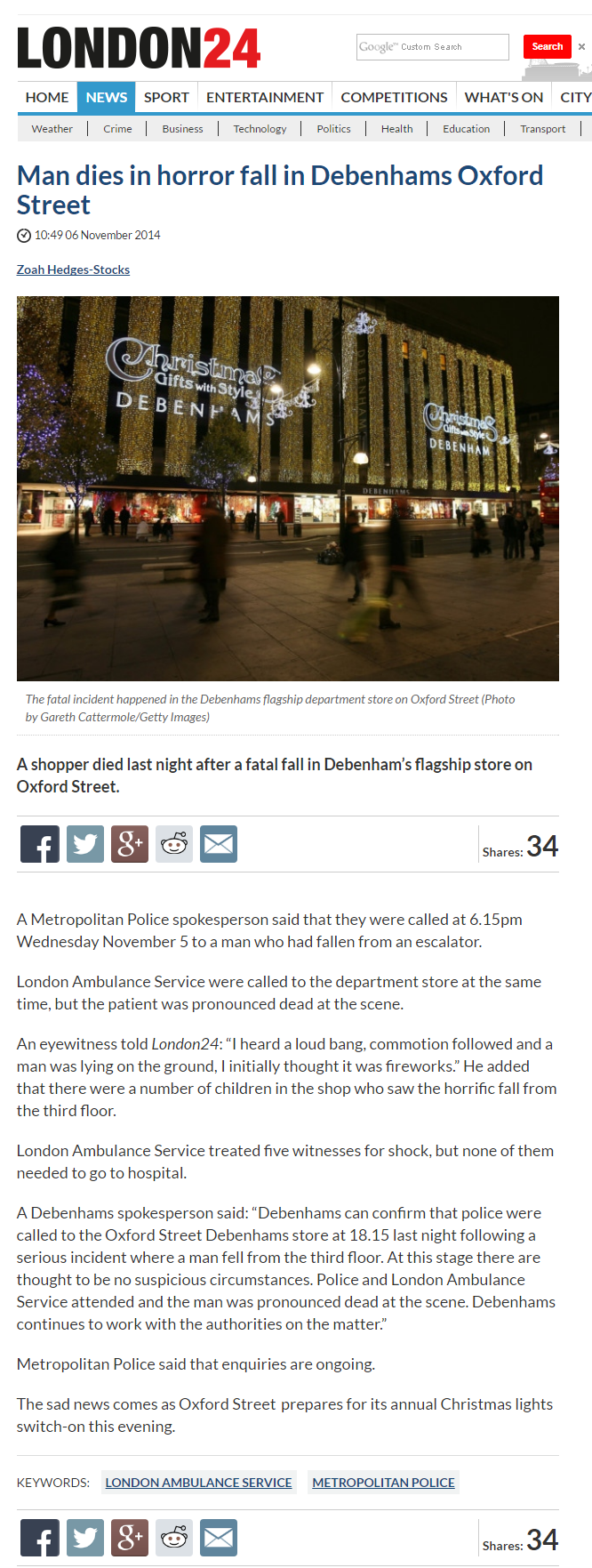 Man dies in horror fall in Debenhams Oxford Street   News   London 24