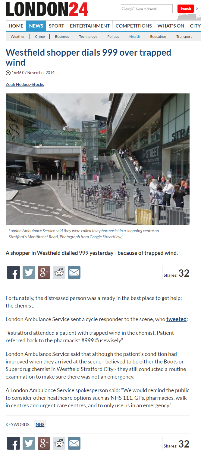 Westfield shopper dials 999 over trapped wind   Health   London 24.png
